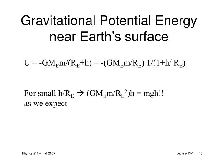 Gravitational Potential Energy near Earth's surface