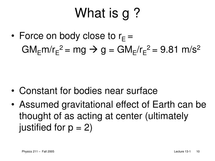 What is g ?