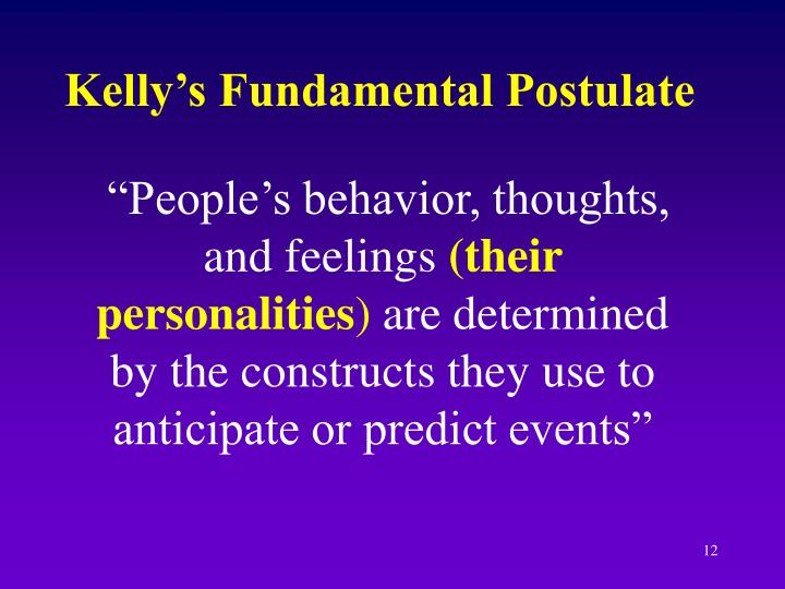Kelly's Fundamental Postulate