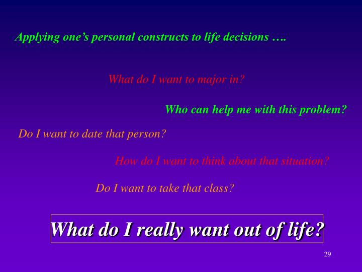 Applying one's personal constructs to life decisions ….
