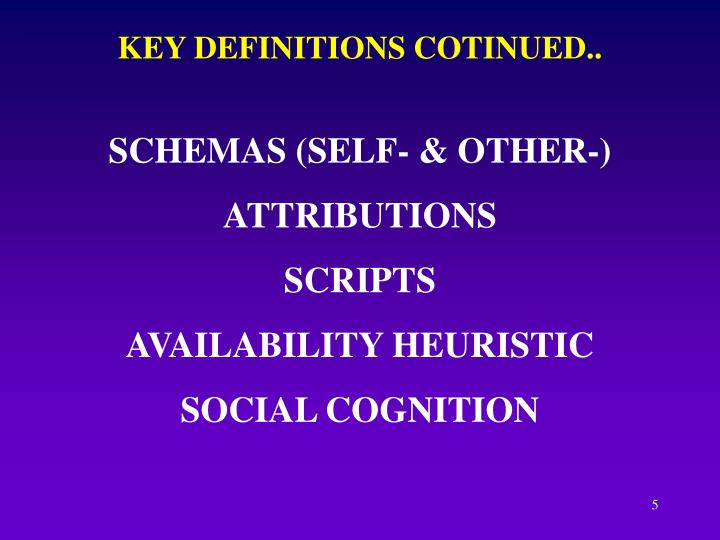 KEY DEFINITIONS COTINUED..