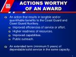 actions worthy of an award