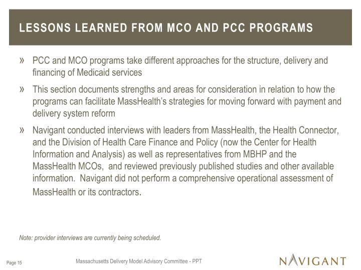 Lessons Learned from MCO and PCC Programs