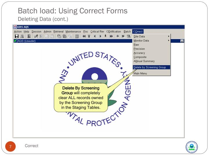 Batch load: Using Correct Forms