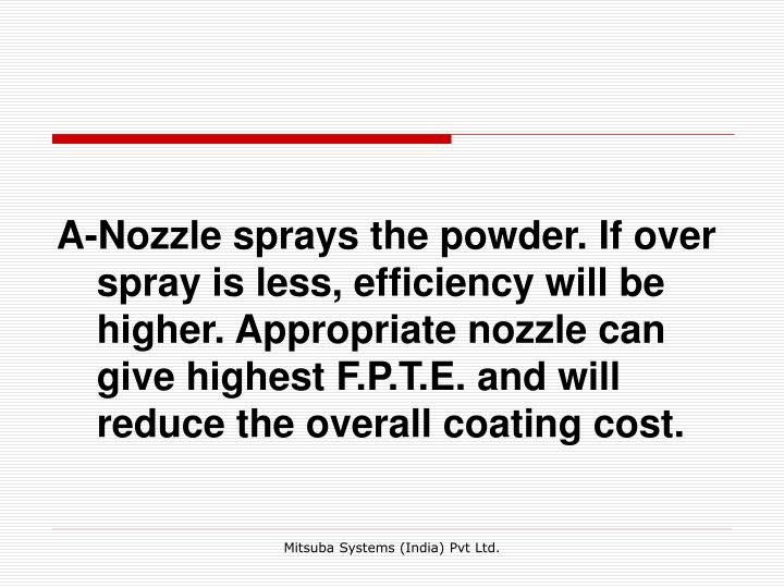 A-Nozzle sprays the powder. If over spray is less, efficiency will be higher. Appropriate nozzle can give highest F.P.T.E. and will reduce the overall coating cost.
