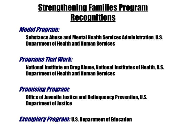 Strengthening Families Program Recognitions