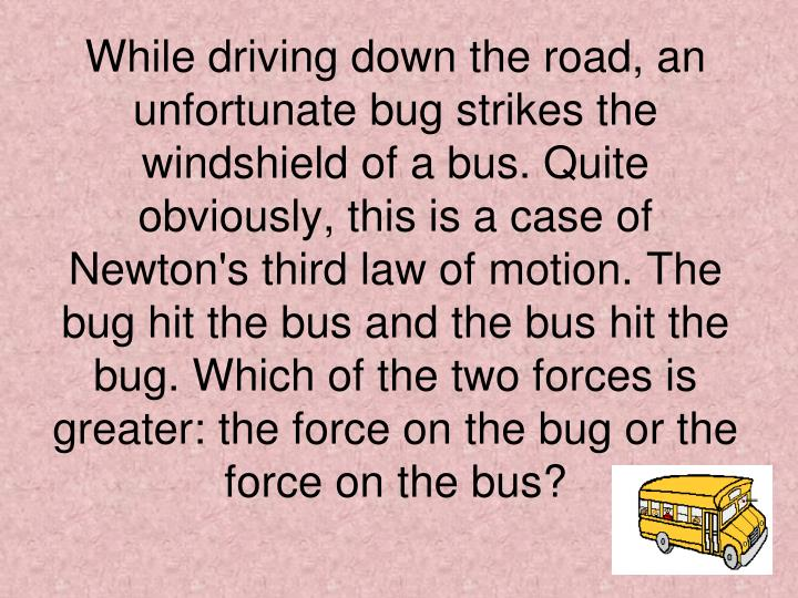 While driving down the road, an unfortunate bug strikes the