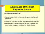advantages of the cash payments journal
