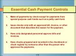 essential cash payment controls