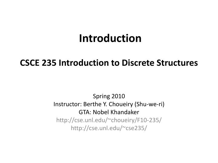 introduction csce 235 introduction to discrete structures