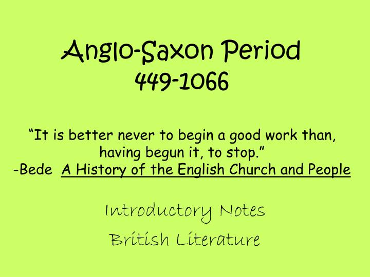 introductory notes british literature n.