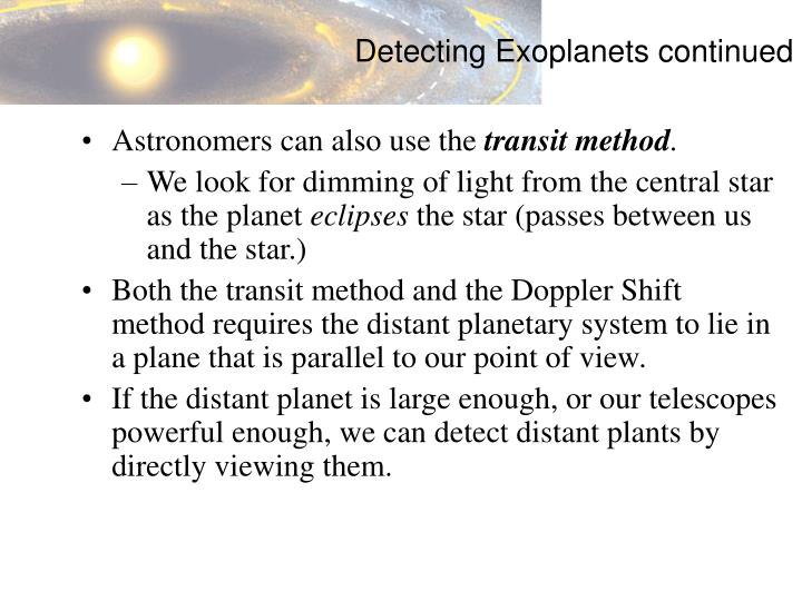 Detecting Exoplanets continued
