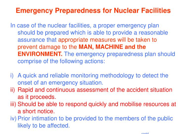 Emergency Preparedness for Nuclear Facilities