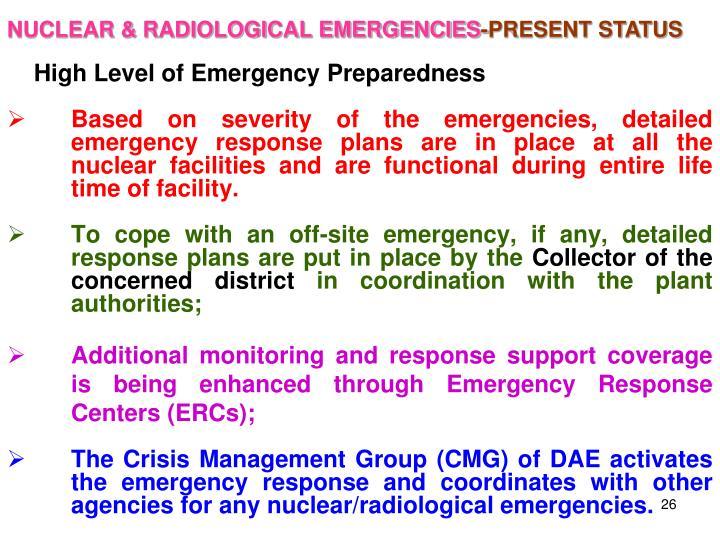 NUCLEAR & RADIOLOGICAL EMERGENCIES