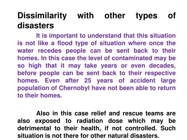 Dissimilarity with other types of disasters