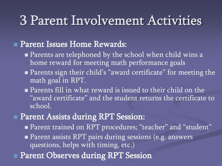 3 Parent Involvement Activities