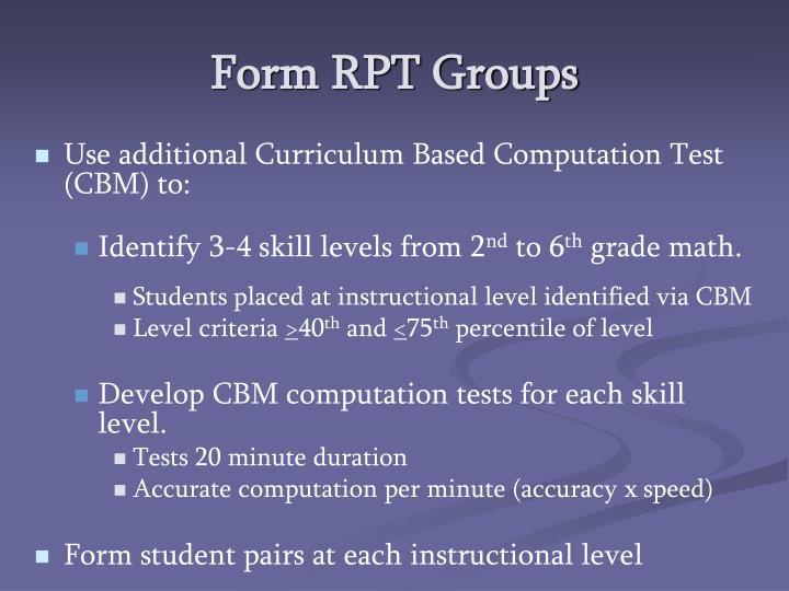 Form RPT Groups