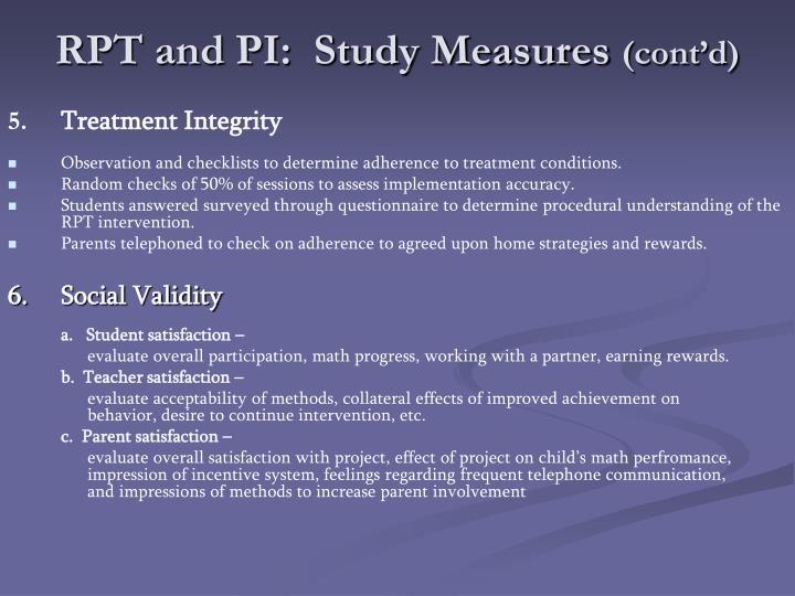 RPT and PI:  Study Measures