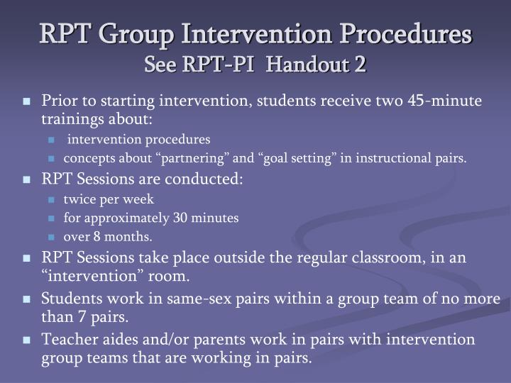 RPT Group Intervention Procedures