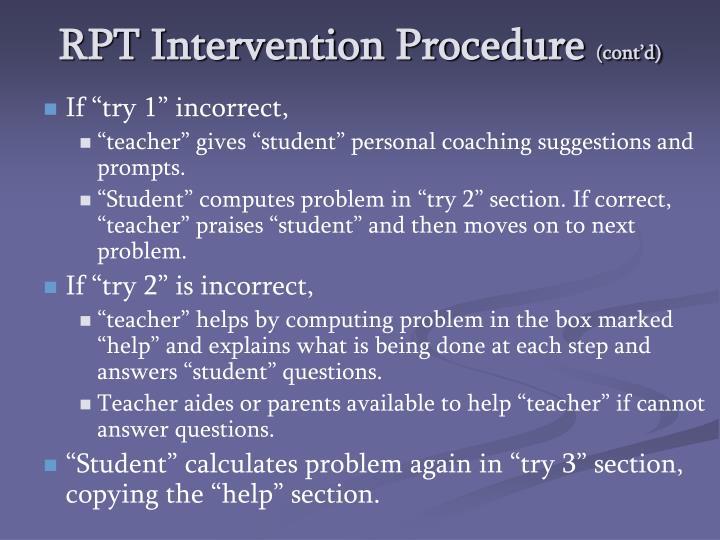 RPT Intervention Procedure