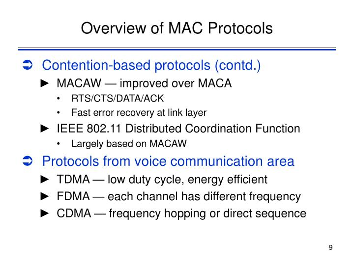 Overview of MAC Protocols
