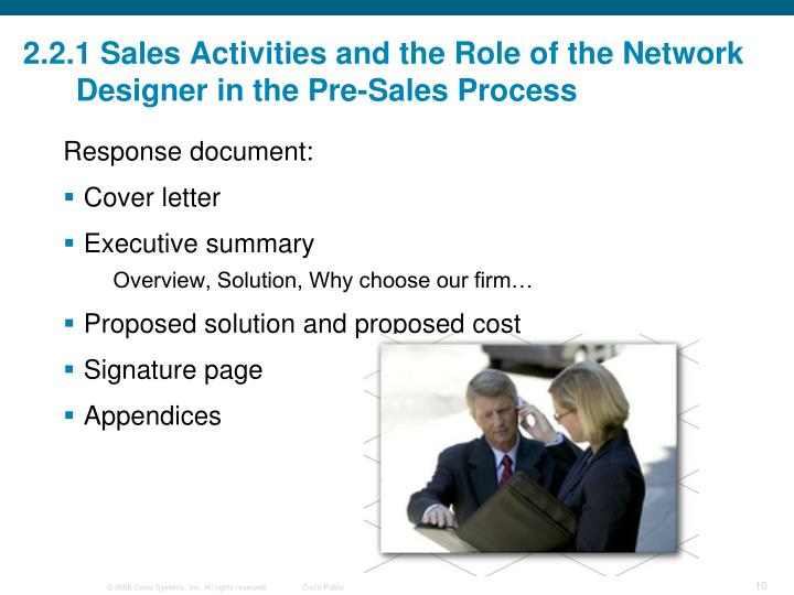 2.2.1 Sales Activities and the Role of the Network Designer in the Pre-Sales Process