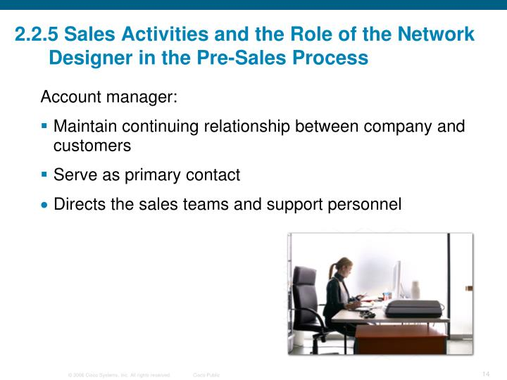 2.2.5 Sales Activities and the Role of the Network Designer in the Pre-Sales Process