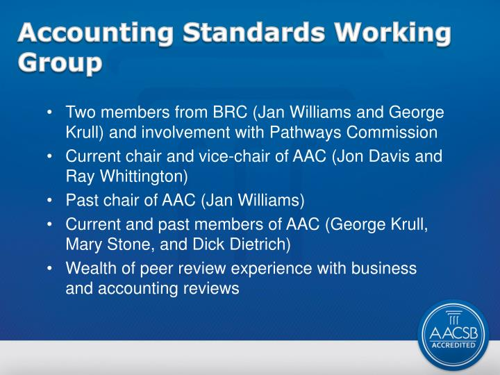 Accounting standards working group
