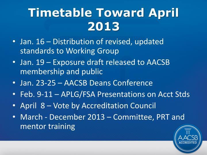 Timetable Toward April 2013
