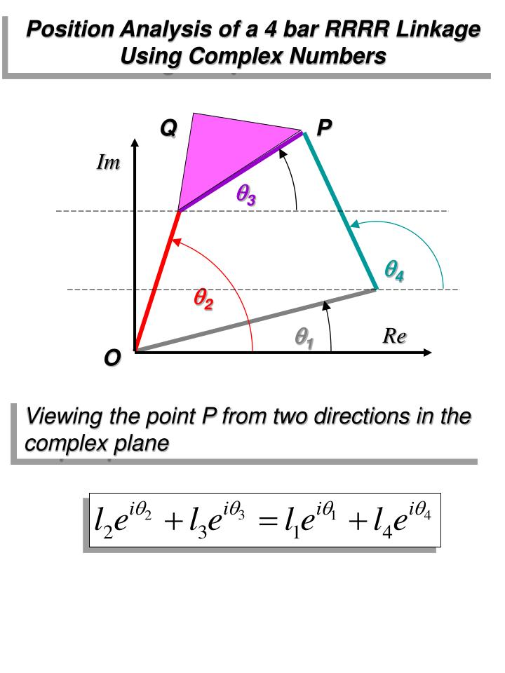 Position Analysis of a 4 bar RRRR Linkage Using Complex Numbers