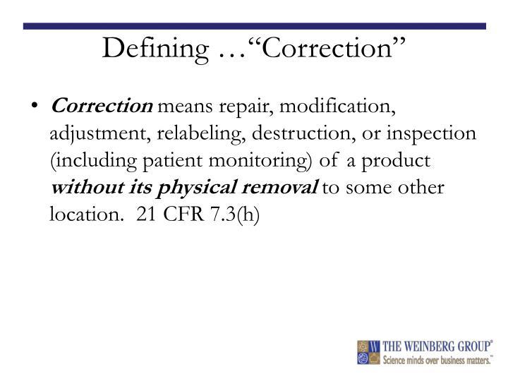 "Defining …""Correction"""