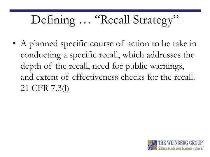 """Defining … """"Recall Strategy"""""""