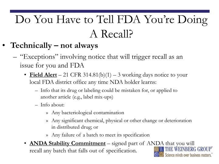 Do You Have to Tell FDA You're Doing A Recall?