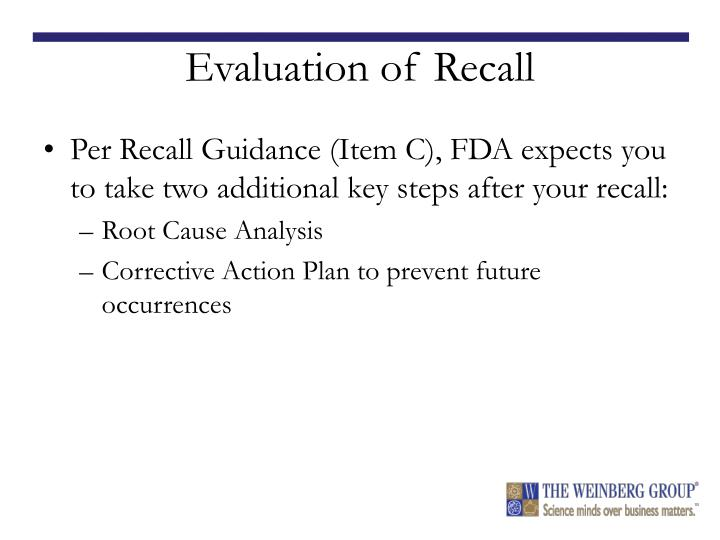Evaluation of Recall