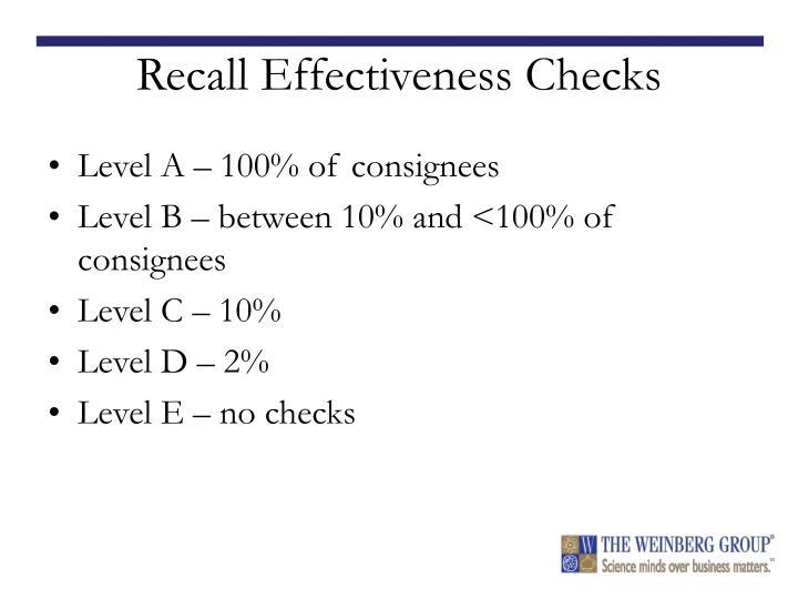 Recall Effectiveness Checks