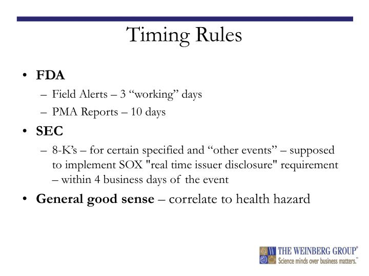 Timing Rules