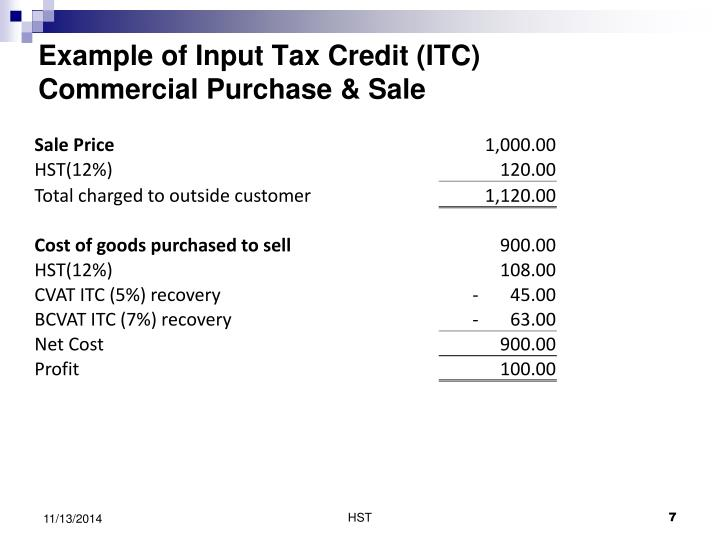 Example of Input Tax Credit (ITC)