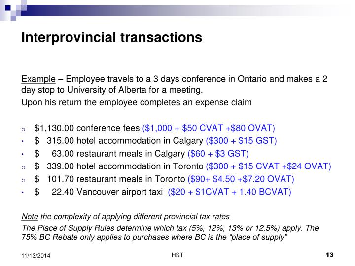 Interprovincial transactions