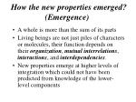 how the new properties emerged emergence
