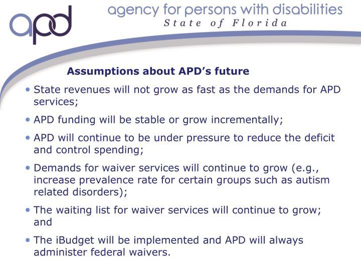 Assumptions about APD's future