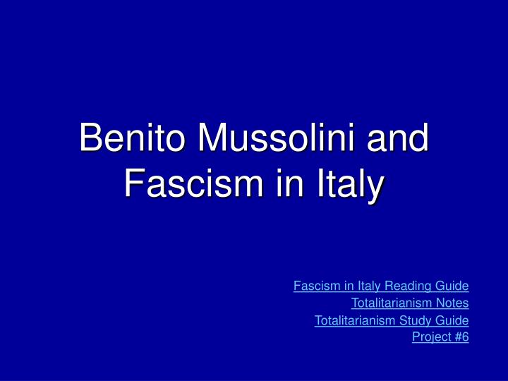 benito mussolini and fascism in italy n.