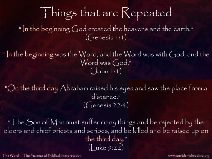 Things that are Repeated