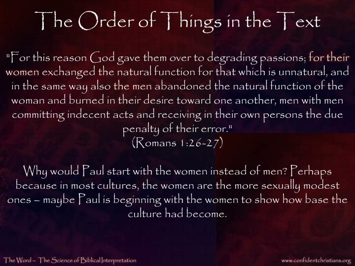 The Order of Things in the Text