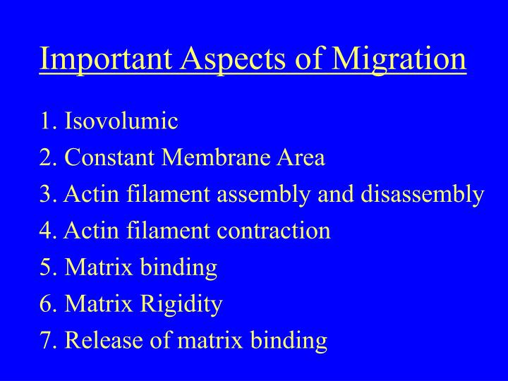 Important Aspects of Migration