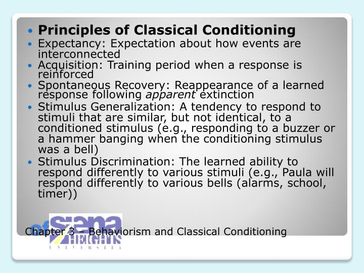 Principles of Classical Conditioning
