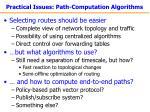 practical issues path computation algorithms