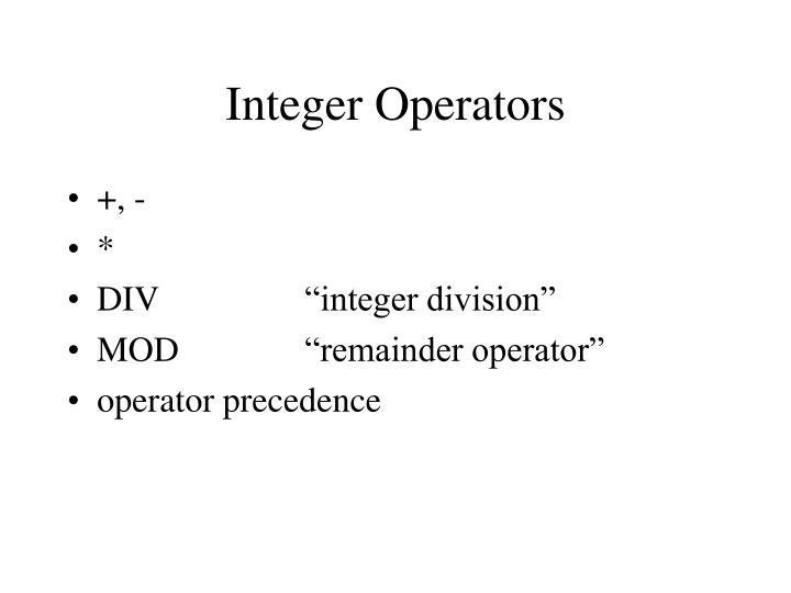 Integer Operators