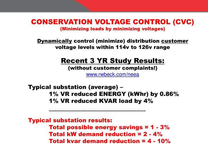 CONSERVATION VOLTAGE CONTROL (CVC)