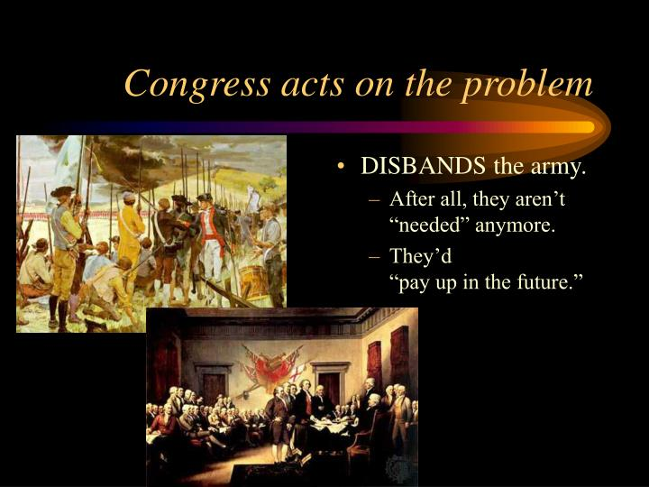 Congress acts on the problem