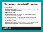 effective dates issued gasb standards